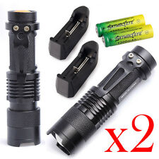 2Sets Tactical Police 8000LM CREE XM-L LED Flashlight Torch +Battery +Charger AD