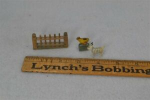old period doll house miniature fence chick goat wooden period 1800s