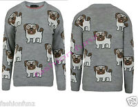 Plus Size Womens Multi PUG Dog Print Knitted Jumper Ladies Pullover Sweater Top