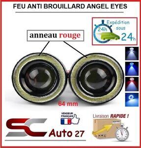feu anti brouillard led angel eyes universel diam 64 mm rouge toute marque