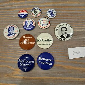 Lot of 11 Presidential Pins Repro McCarthy Dewey Smith Rockefeller McGovern VTG