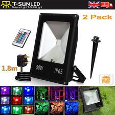 2 Pack 50W LED RGB Floodlight Spotlight Remote Memory Dimmable Garden Light Lamp