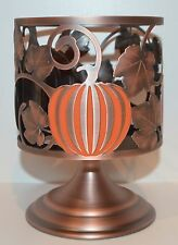 BATH & BODY WORKS COPPER PUMPKIN PEDESTAL LARGE 3 WICK CANDLE HOLDER SLEEVE 14.5