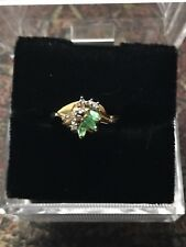 14K Gold Ring Set With 3 Marquise Emeralds And 6 Diamonds