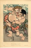 Japanese Sumo Wrestlers RARE!  / Chromolithograph Antique Art Print [Inv#HB101