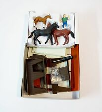 New Ray Country Life Horses, Stable and Farmer Figures Set Plastic Models NEW