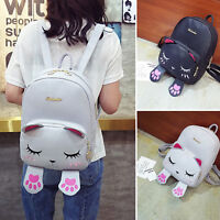 New Women Girls Cute PU Cat School Bags Backpack Travel Rucksack Shoulder Bag UK
