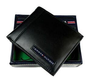 Authentic Tommy Hilfiger Black Leather Mens Cambridge Bifold Wallet
