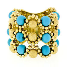 Wide 18k Yellow Gold 3 Row Turquoise Bead Flexible Textured Mesh Open Work Ring