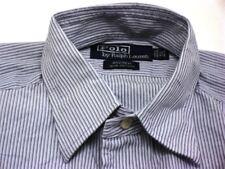 Ralph Lauren Andrew chemise hommes manches longues bleu rayé coton taille M