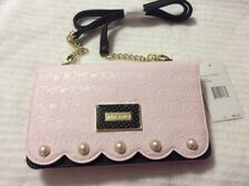 Betsey Johnson Black Blush Pink Bow Wos Crossbody Bag Wallet Purse