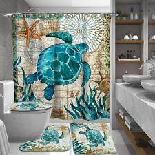 Blue Sea Turtle Bathroom Shower Curtain or Bath Mat Toilet Cover Rug Decor Set
