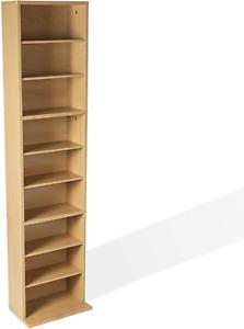 DVD Media Cabinet Storage Adjust Shelf CD Tower Rack Organizer Holder Stand