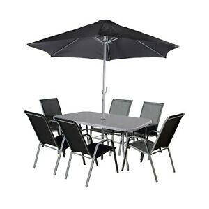 Royalcraft Grey / Black 6 SEATER DINING SET Textylene Stacking Chairs & Parasol