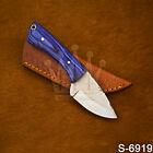 Handmade Higcharbon Steel Blue Hardwood Neck knife W/Sheath | Skinner knife