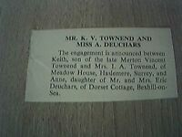 ephemera 1966 sussex engagement k v townsend miss a duchars bexhill