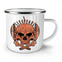 Living Life Biker Skull NEW Enamel Tea Mug 10 oz | Wellcoda