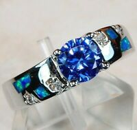 1CT Sapphire & Australian Opal Inlay 925 Sterling Silver Ring Jewelry Sz 6, OS1