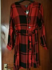 New Primark Dark Red Check Dress Size UK 8 EUR 36
