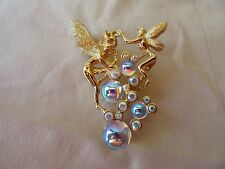 "Kirks Folly ""FAIRIES WITH CRYSTAL BALLS"" Enamel CRYSTAL BROOCH"
