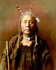 "EAGLE CHILD ATSINA GROS VENTRE PEOPLE 1908 8x10"" HAND COLOR TINTED PHOTOGRAPH"