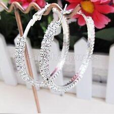 Women Silver Plated Diamante Crystal Rhinestone Big Hoop Circle Earring ./