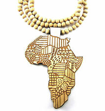 "Wooden African Map Pendant Piece 36"" Chain Necklace All Good Quality Wood Style"