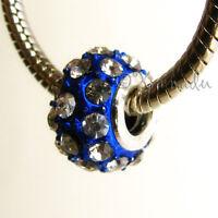 1PC Royal Blue Crystal Large Hole Charm Bead For European Style Charm Bracelets