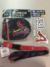 St Louis Cardinals mirror covers, lanyard, 2 perfect cut decals