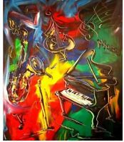 "jazz  "" MARK KAZAV - ORIGINAL OIL PAINTING ABSTRACT MODERN ART RED BLUE 45RTWERG"