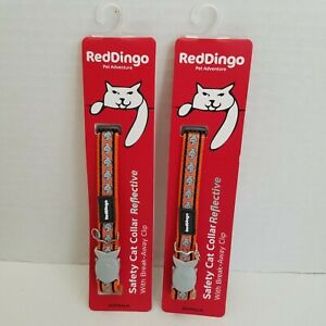 Red Dingo Reflective Cat Collar One Size Fits All ORANGE Fish Design Lot of 2