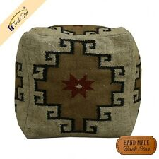 """Indian Kilim Footstool Cover Vintage Jute Pouffe Case Handmade 18"""" Ottoman Cover"""