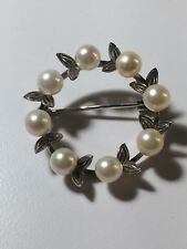 Antique 14k White Gold Circle Pin Brooch Akoya Pearl Leaves Signed