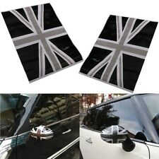 2x Union Jack Flag Vinyl Stickers Wing Side Mirrors Cover Black For Mini