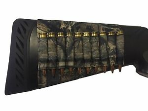 Camo Pattern Rifle Ammo Cartridge Buttstock Holder Cover - Holds 10 bullets