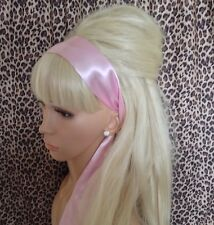 NEW PALE PINK SATIN HAIR SCARF HEAD BAND SELF TIE BOW 50s GLAMOUR VINTAGE STYLE