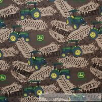BonEful FABRIC FQ Cotton Quilt Brown Green Tractor John Deere Farm Dirt Track*s
