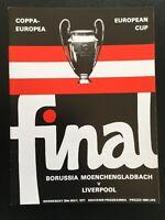 1977 European Cup Final Borussia Moenchengladbach v Liverpool Replica Programme