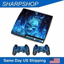 PS3 Decal Vinyl Skin for PlayStation 3 Silm Console Controller Cover Blue Demon