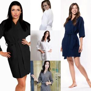Bath Robe Waffle Weave Soft Wo Spa Hotel 100%  Cotton Dressing Gown Bathrobe