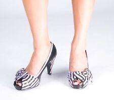 T.U.K. Size 5 A7723L $62 Black Purple Stripes Pumps Open Toe Heels TUK Vegan NIB
