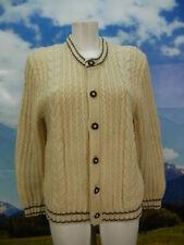Dicke Vintage Strickjacke weiß mit Zopfmuster kurze Trachtenjacke Jacke Gr.48