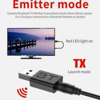 Bluetooth v5.0 EDR Audio Transmitter Receiver USB Adapter Speaker For TV PC E0V8