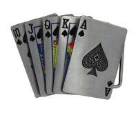 Boucle de ceinture poker quinte flush a pic, étain.