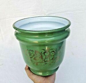 Vintage Old Porcelain Enamel Rare Beautiful Handcrafted Antique Flower Pot