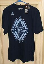 Men's Small adidas MLS VANCOUVER WHITECAPS FC Soccer Football T Shirt Blue