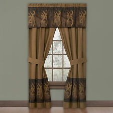 "Browning Oak Tree Buckmark Lined Rod Pocket Curtains/Drapes w/valance 42"" x 84"""