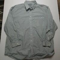 R.M. WILLIAMS (Size 2XB) STOCKYARD White Blue Striped SHIRT LONG SLEEVE SHIRT