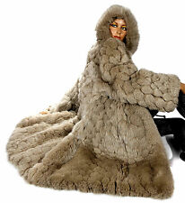 Vintage Fuchsfellmantel Fuchspelz Fuchs Kapuze Parka fox fur coat hooded Renard