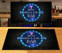 Personalised bar runner Blue Neon circle effect Bar mat Parties Home bars